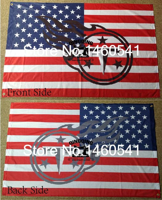 Tennessee Titans Hollow Out Shape With Us Flag 3ft X 5ft