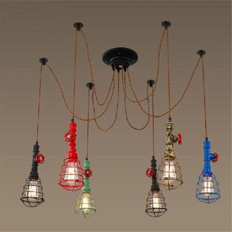 Vintage Creative Industry Multicolor Iron Hemp Rope Led E27 Pendant Light for Restaurant Bar Dining Room AC 80-265V 2189 vintage industrial creative black iron hemp rope diamond design led e27 pendant light for restaurant coffee bar ac 80 265v 1646