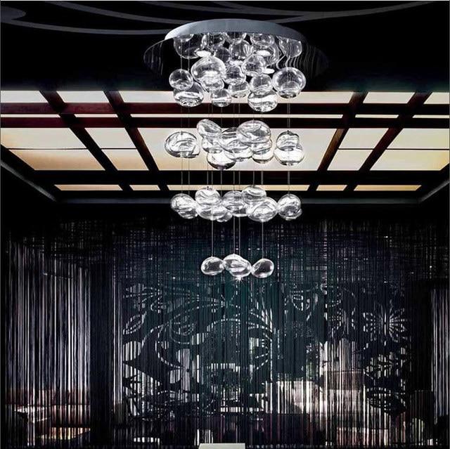 Moderne Europa Höhe 70 Cm/100 Cm/150 Cm Kristall Blase Glas LED Kronleuchter