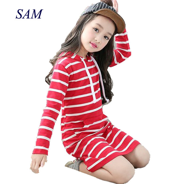 a07a4d36ed3e Fashion Autumn Girl Dress Hooded Long Sleeve Kids Clothes Toddler Casual Children  Clothing Striped Tutu Baby