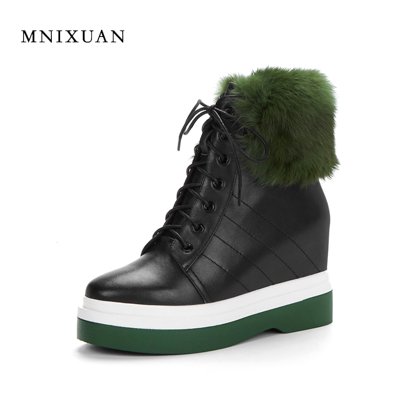 MNIXUAN 2017 autumn winter martin boots women genuine leather platform woman ankle boots increasing with fur warm short plush 2017 women warm boots genuine leather height increasing cut out flat platform short plush women ankle boots