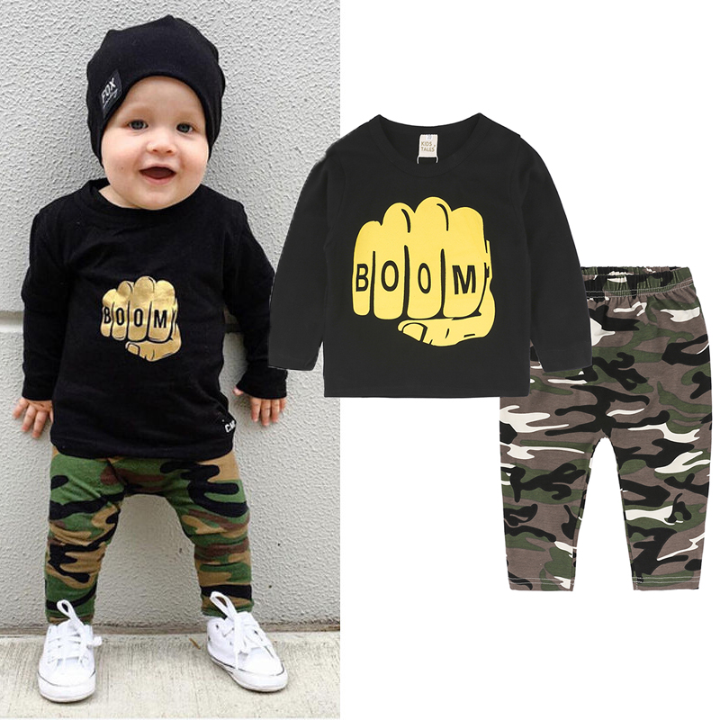 New 2 Pcs. Baby Clothes Newborn Infant Toddler Baby Boys Girls Fitted Clothes T-Shirts Tops + Camouflage Pants Costumes SY279