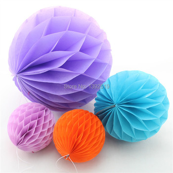 Free Shipping 50pcs Mixed Size  Set  4'' 6'' 14''  Hand Made Tissue Paper HONEYCOMB BALL 17 Colors Wedding Decoration