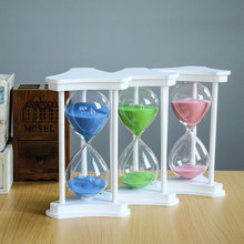 45/60 minutes wooden three-column hourglass, customizable home hotel restaurant serving hourglass hourglass 60 minutes wooden base timing hourglass creative glass crafts home decoration