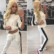 High Quality O-neck Long Sleeve White Black Women Sport Suit New Brand  Breathable Tracksuit Sexy Running Set