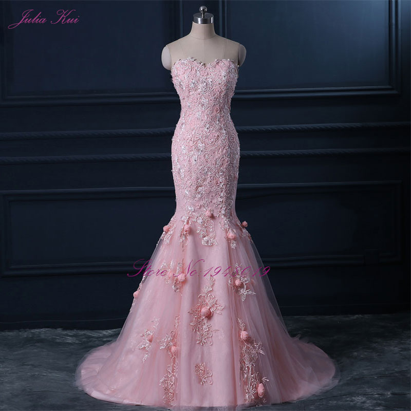 2018 Pink Evening Dress Floor Length Strapless Formal Dresses Mermaid Evening Dress With 3D Flowers Vestido De Festa