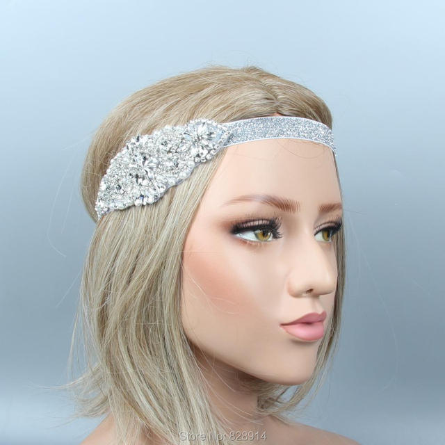 Lowosaiwor Wholesale 1920 s Gatsby Flapper Headpiece Crystal Applique Bride Headpiece  Wedding Headband HS10261 18c7fdc18f4