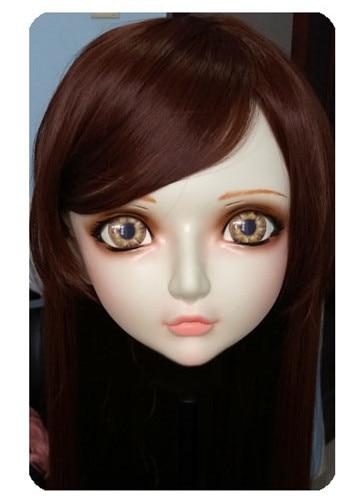 gl019 Women/girl Sweet Resin Half Head Kigurumi Bjd Mask Cosplay Japanese Anime Lifelike Lolita Mask Crossdressing Sex Doll Costumes & Accessories