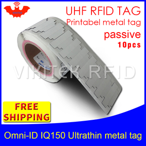 Image 1 - UHF RFID ultradünne anti metall tag omni ID IQ150 915 m 868 mhz Impinj MR6 10 stücke freies verschiffen druckbare kleine passive RFID tag