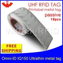 UHF RFID ultrasottile anti metallo tag omni ID IQ150 915 m 868 mhz Impinj MR6 10 pcs libera il trasporto stampabile piccolo tag RFID passivo