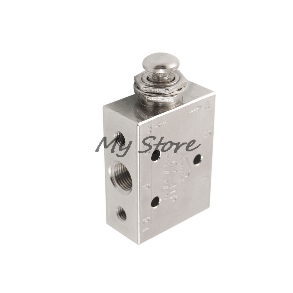 Pneumatic 2 Position 3 Way Spring Return Button Air Valve TAC2-41P Pneumatic Switch Valve dom