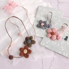 Korea Handmade Cute Fabric Flower Bowknot Ball Kids Children Girls Necklaces Apparel Accessories Gifts-SWCGNL105F