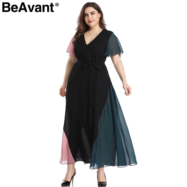 BeAvant Elegant v neck plus size dress women Black butterfly sleeve summer female maxi dress Casual party club ladies dresses 3