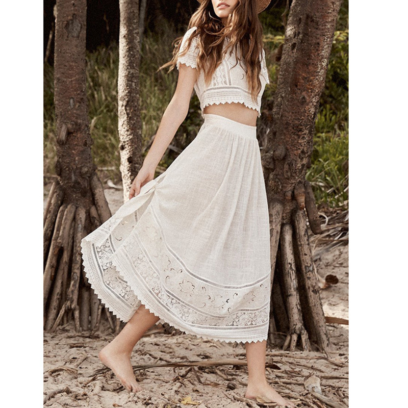 Ordifree 2019 Summer Women 2 Piece Sets White Embroidery Boho Beach Wear Crop Top And Skirt Set