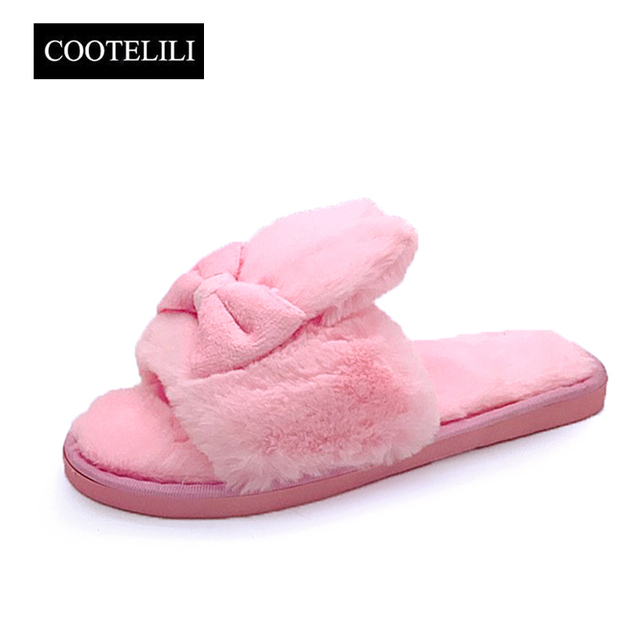 COOTELILI Winter Women Home Slippers with Faux Fur Warm Shoes Woman Slip on  Flats Cute Rabbit Bowtie Female Slides Plus Size 41 46951249d00f