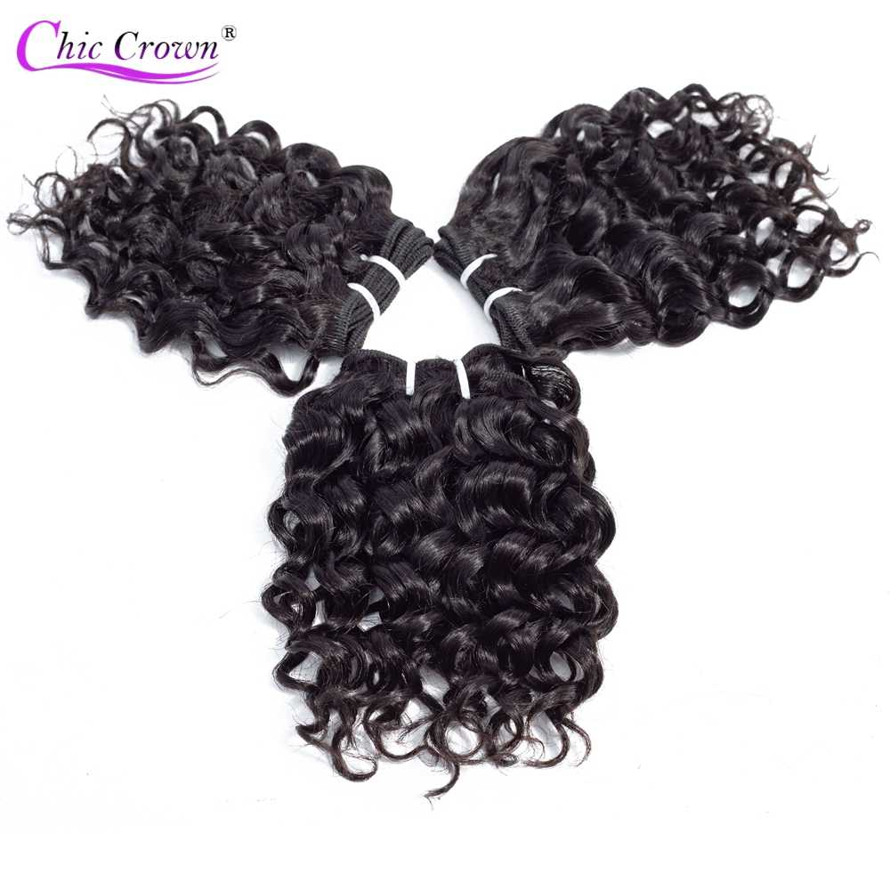 Chic Crown Peruvian Human Hair 3Pcs/lot 100 Remy Hair 2 Lot Can Make A Wig Double Weft Deep Wave Bundles No Shedding No Tangle