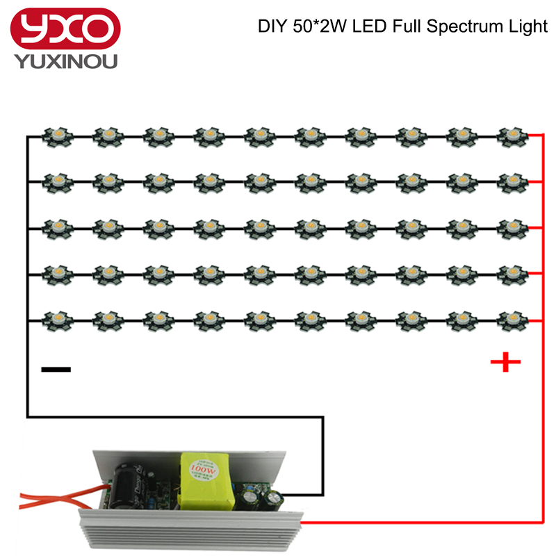 ФОТО DIY 100W LED Grow Light Full Spectrum With100W Power Supply Driver 50pcs 3W 380-840nm 45Mil LED Grow Chip For Green House Plants