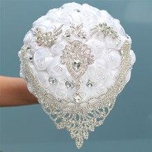 8 стилей, новые белые свадебные цветы для невесты, искусственные букеты, лента, стразы, жемчужный букет, украшение для невесты, жениха, танцев