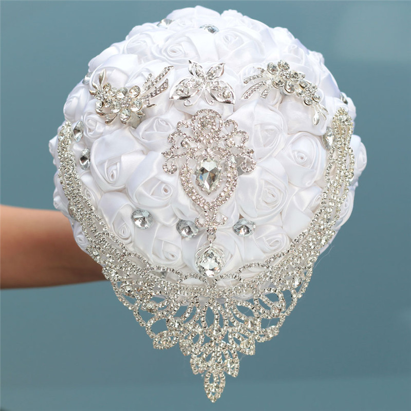 8 Styles New White Wedding Bride Holding Flowers Artificial Bouquet Ribbon Rhinestone Pearl Bouquet Decoration Bride Groom Dance