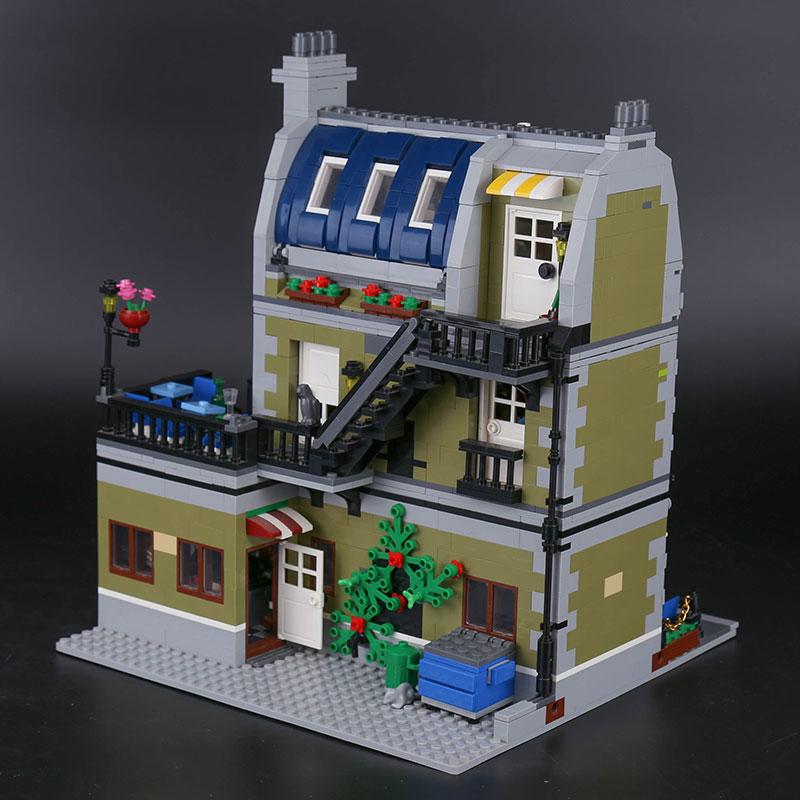 الخالق الباريسي مطعم الشارع مدينة وحدات مجسم لمنزل اللبنات 15010 تجميع اللعب متوافق مع 10243-في حواجز من الألعاب والهوايات على  مجموعة 3