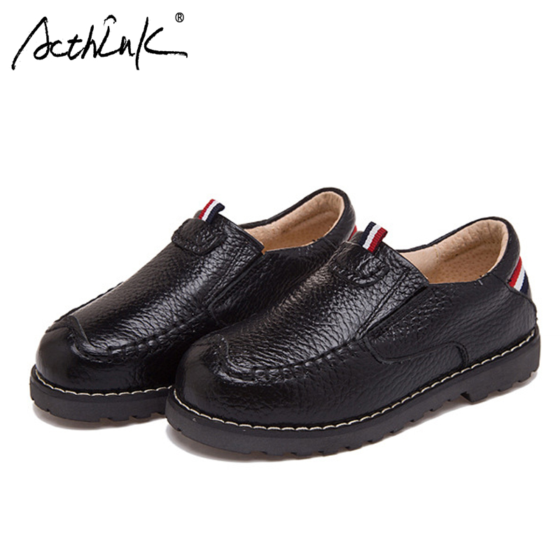 ActhInK New Kids Genuine Leather Shoes School Shoes Teenage Boys Formal Wedding Slip-on Shoes Children Leather Party Flat Shoes