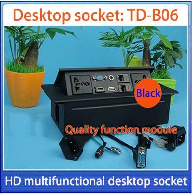 Tabletop socket /hidden/VGA, 3.5 audio,HD HDMI, USB, network,RJ45 Information outlet box /High-grade desktop socket /TD-B06