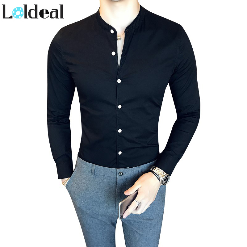 Long Sleeve White Formal Shirt Men Black Shirt Slim Mandarin Collar Shirt Men Camicia Uomo Chemise Homme Hombre Camisa Masculina