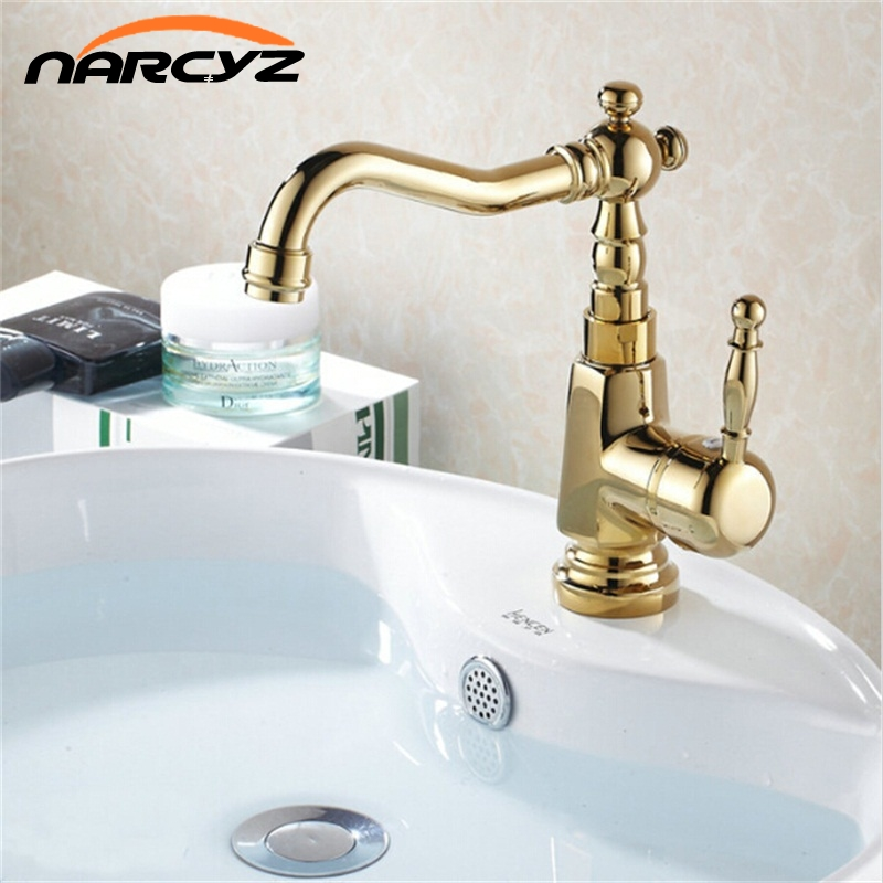 Golden Basin Faucets Bathroom Mixer Taps Antique Finished Single Hole Sink Faucet Torneira Banheiro XT813