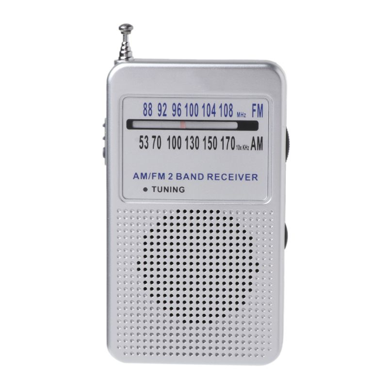 Blue/Silver/Gray Portable AM/FM 2 Band Digital Display Pocket Radio Receiver Supporting Stereo Mode