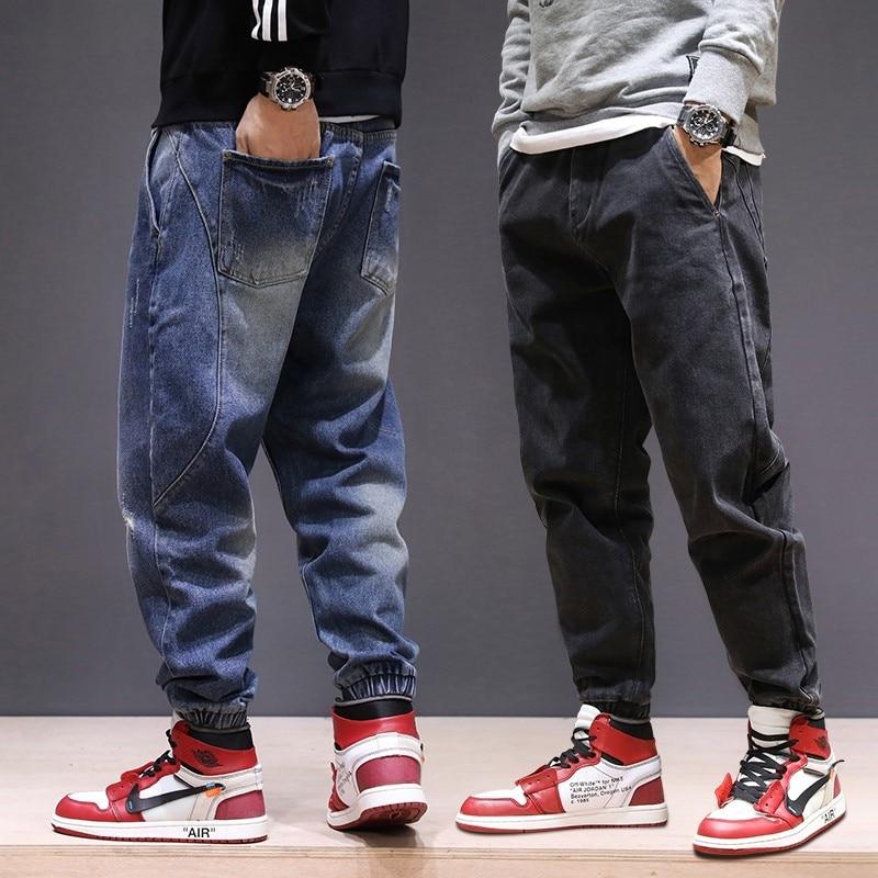 Japanese Style Fashion Men Jeans Loose Spliced Cargo Pants Harem Trousers Big Size 28-44 Slack Bottom Hip Hop Joggers Jeans Men