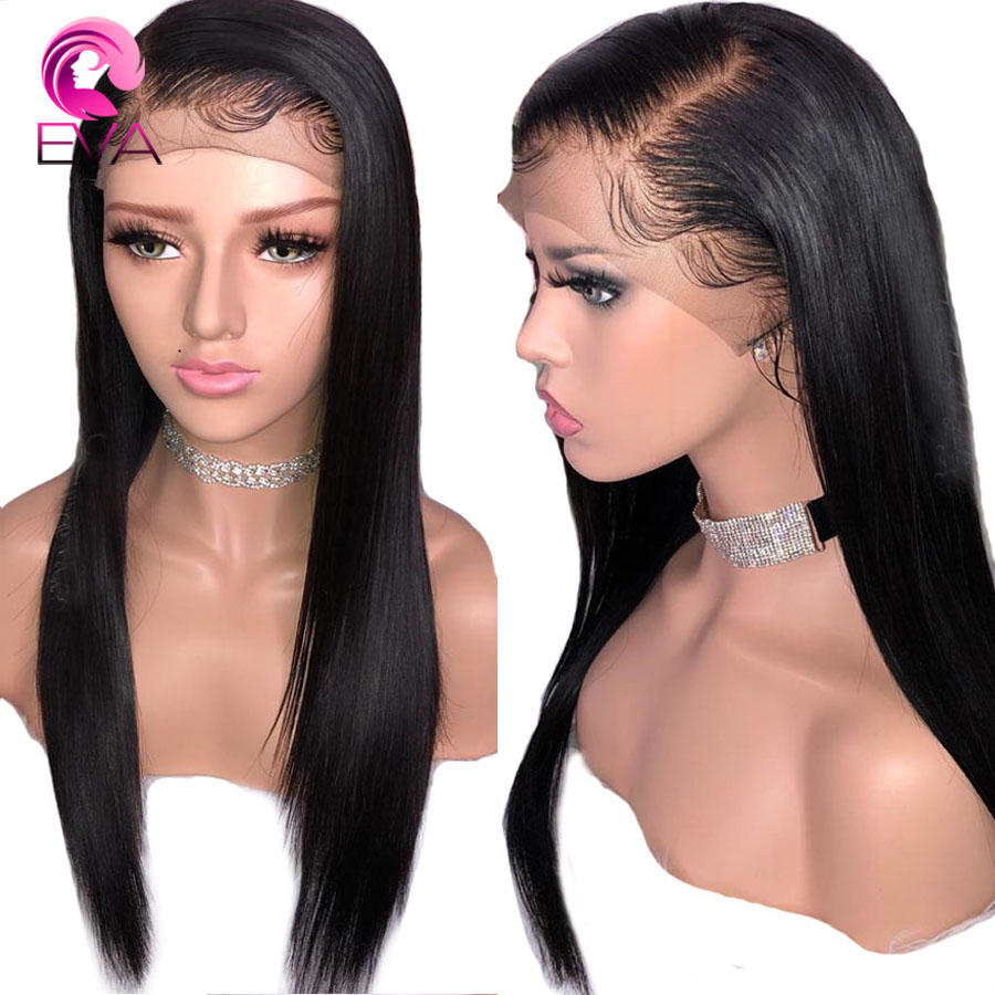 Eva Hair 360 Lace Frontal Wigs Pre Plucked With Baby Hair Bleached Knots Straight Brazilian Remy Human Hair Wigs For Black Women