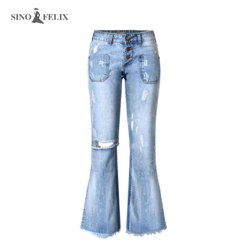New Women s Jeans Hot sales low waist Loose Style Stretchy Ripped Jeans for Women Denim