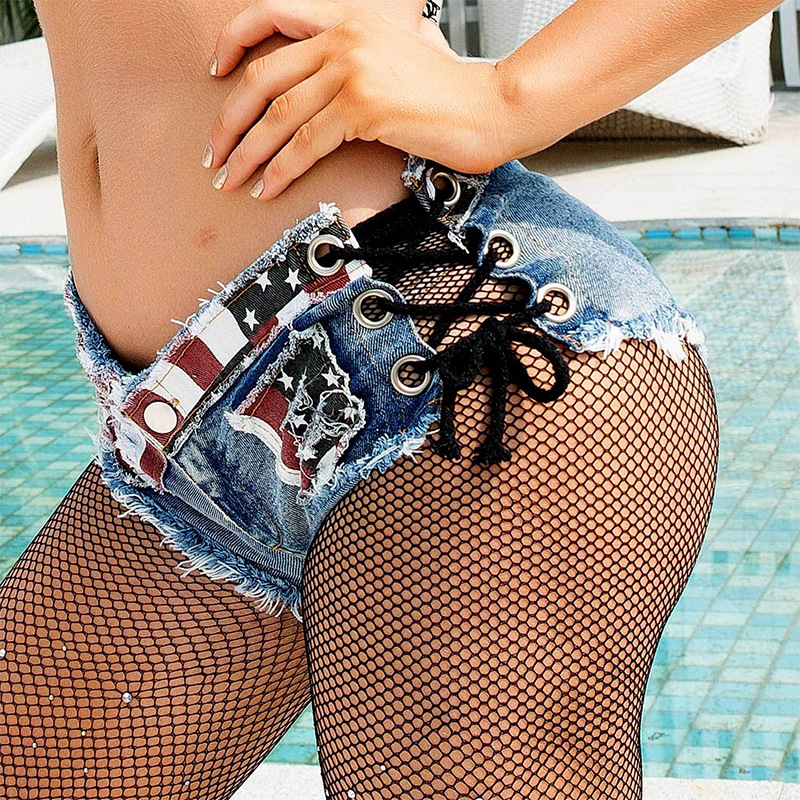 Punk Cross Lace Up Star Stripe American Flag Print Women Mini Denim Shorts Ripped Frayed Hole Jeans Shorts Low Waist Shorts