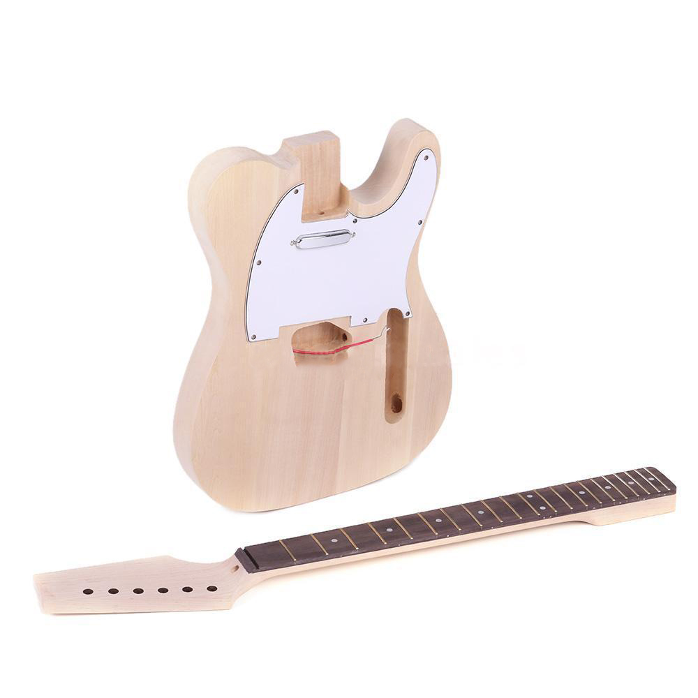 FSTE-High Quality TL Style Unfinished DIY Electric Guitar Kit Maple Neck tl style electric guitar diy kit map pattern veneer a grade beechwood body hard maple neck rosewood fingerboard set