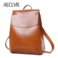 AECLVR Fashion Women Backpack High Quality Youth Leather Backpacks For Teenage Girls Female School Shoulder Bag