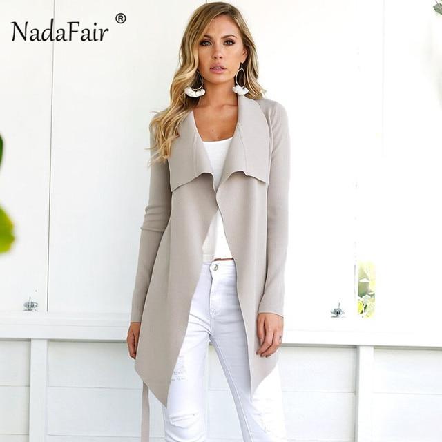 reputable site ad7bb ed30a Nadafair donna cappotti di inverno 2018 modo lana lungo cappotto femminile  cintura solido elegante sottile miscela trincea outwear punto aperto