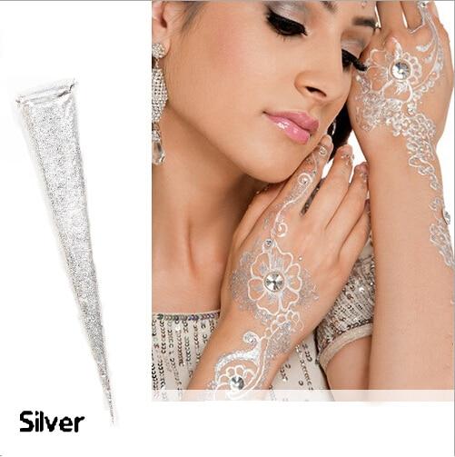 Indian Pasta Henna Silver Metalik Gemerlap Putih Mehndi Laser Bubuk