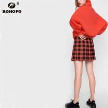 ROHOPO Button Fly Plaid Flare Mini Skirt Hight Waist Girl Pleated Autumn Cute Preppy Female Micro Skirts #UK8615 цены