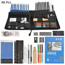 48 adet eskiz profesyonel eskiz çizim kalemleri seti Set ahşap kalem sanat malzemeleri okul öğrencileri
