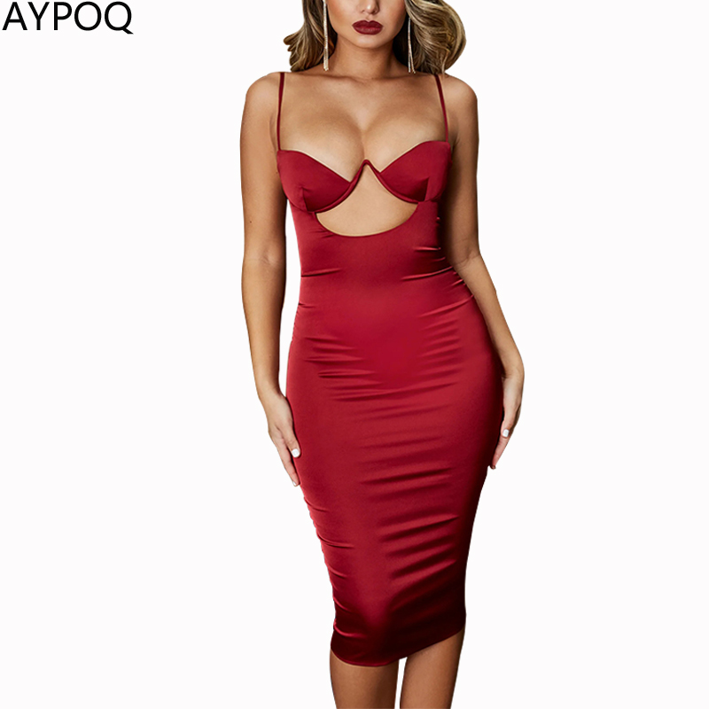 AYPOQ Women Spaghetti Straps Crop Tops Dress Sexy Bra Chest Pad Hollow Pleated Bodycon Summer Clubwear Evening Party Clothes