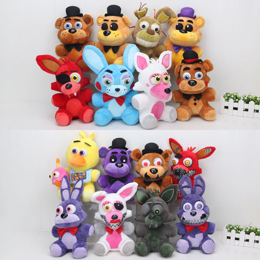 25cm Five Nights At Freddy's plush FNAF Bear Fox Golden Freddy Nightmare Fredbear foxy chica bonnie kids Plush Toys Doll цена 2017