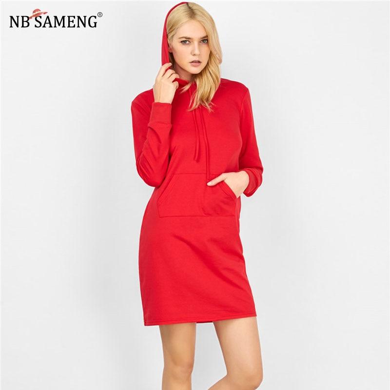 Spring Women Red Hooded Dress 2018 Long Sleeve Slim Pullover Dresses New Fashion Sweatshirt Mini Dress Female Vestido