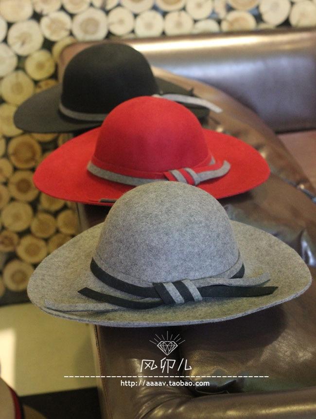 e7b6743c3a6ddb New Winter Ladies Wool Floppy Hats Women Wide Brim Felt Fedoras Female  Chapeau Free Shipping WMDW021