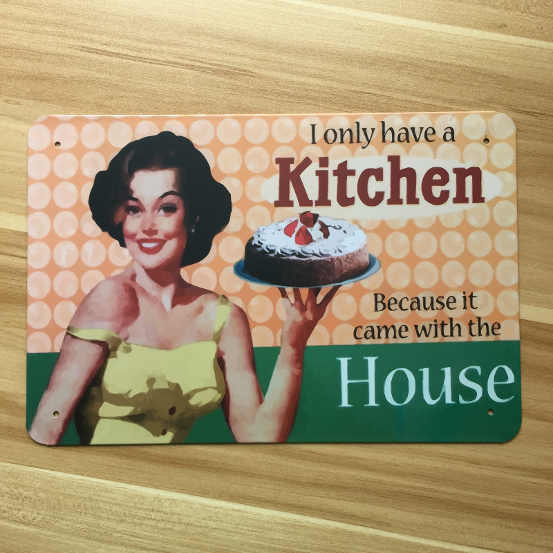 Vintage Tin Sign Metal Painting Iron Crafts Food Poster Retro Kitchen Housewife Plate Bar Pub Cafe