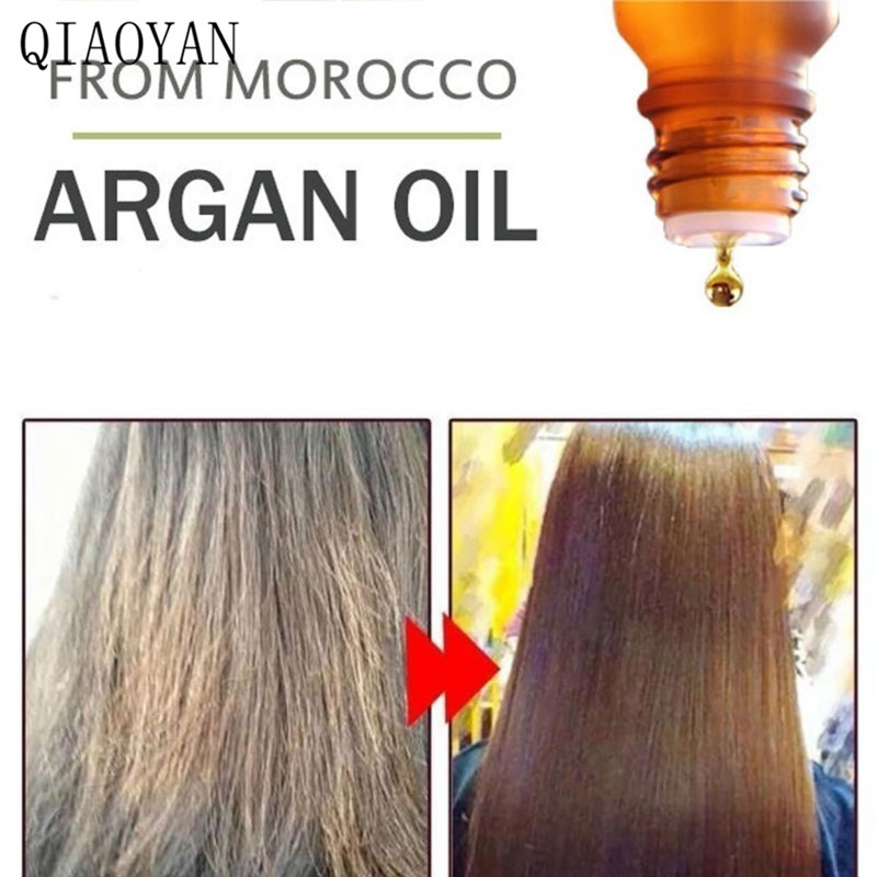 QIAOYAN 10ml Morocco Argan Oil Pure Natural Moisturizing Dry Hair Damaged Maintenance image