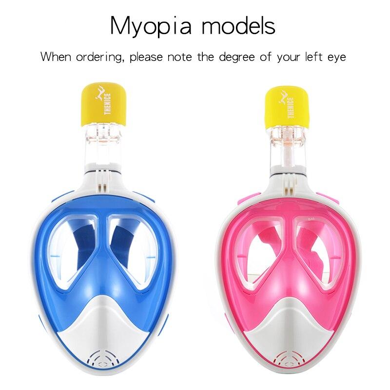 Myopie tuba masque de plongée miroir anti brouillard imperméable visage miroir tube de respiration pleine couverture équipement de plongée
