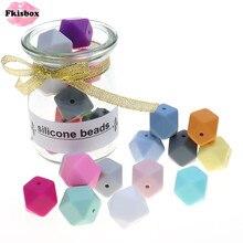 Fkisbox Bpa 무료 14mm 100pc 실리콘 육각 구슬 씹기 쉬운 아기 Teether 젖니가 남 목걸이 젖꼭지 체인 DIY 아기 샤워 선물