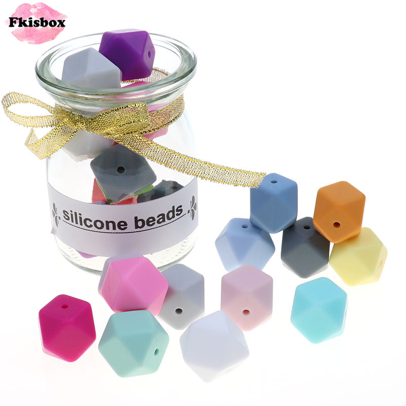 Fkisbox Bpa Free 14mm 100pc Silicone Hexagon Bead Chewable Baby Teether Teething Necklace Pacifier Chain DIY Babies Shower Gift