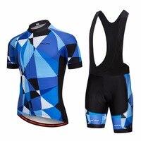 2019 프로 팀 사이클링 저지 세트 여름 레이싱 자전거 저지 세트 남자 빠른 건조 유리 블루 mtb 자전거 사이클링 세트