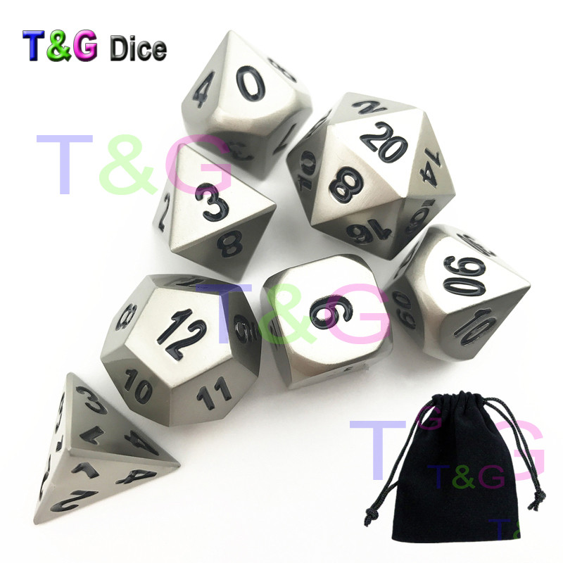Matt Sliver RPG <font><b>Metal</b></font> <font><b>Dice</b></font> 7pcs/set of D4 D6 D8 D10 D12 D20 <font><b>D</b></font>% X A Bag for Entertainment/Birthday Party Present image